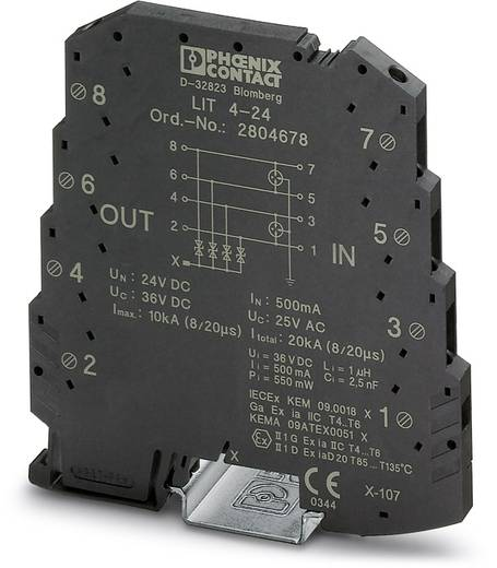 Überspannungsschutz-Ableiter 10er Set Überspannungsschutz für: Verteilerschrank Phoenix Contact LIT 4-24 2804678 0.25 kA