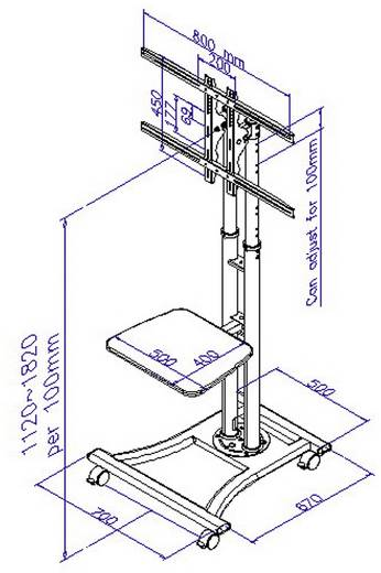 "TV-Rollwagen 68,6 cm (27"") - 152,4 cm (60"") Starr B-Tech RW8620/S"