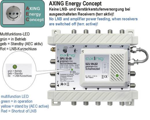 Axing SPU 54-09 SAT Multischalter Eingänge (Multischalter): 5 (4 SAT/1 terrestrisch) Teilnehmer-Anzahl: 4 StandBy-Funkti