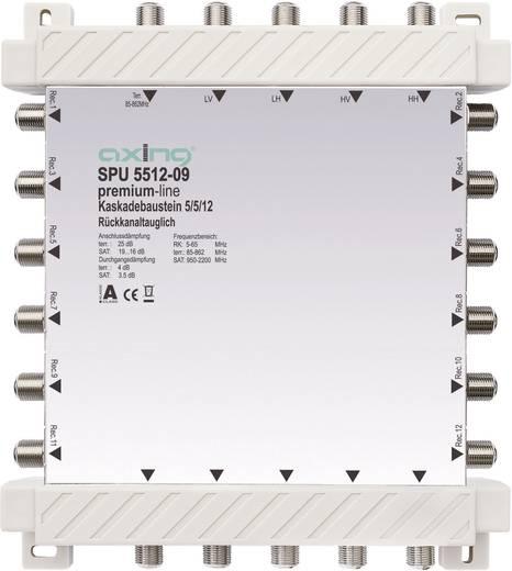 SAT Multischalter Kaskade Axing SPU 5512-09 Eingänge (Multischalter): 5 (4 SAT/1 terrestrisch) Teilnehmer-Anzahl: 12