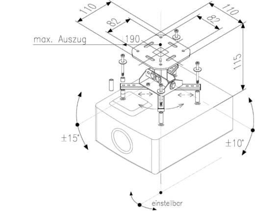 Beamer-Deckenhalterung Neigbar, Schwenkbar Boden-/Deckenabstand (max.): 13.5 cm Kindermann Support Quadro Basic 11 Weiß