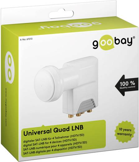Quad-LNB Goobay Universal Teilnehmer-Anzahl: 4 Feedaufnahme: 40 mm mit Switch