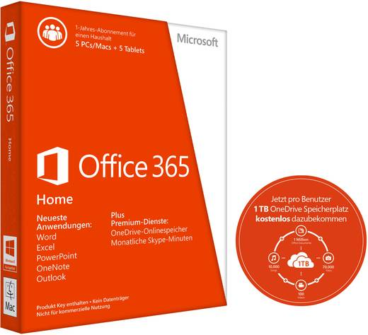 Microsoft Office 365 Home Vollversion 5 Lizenzen Office Paket