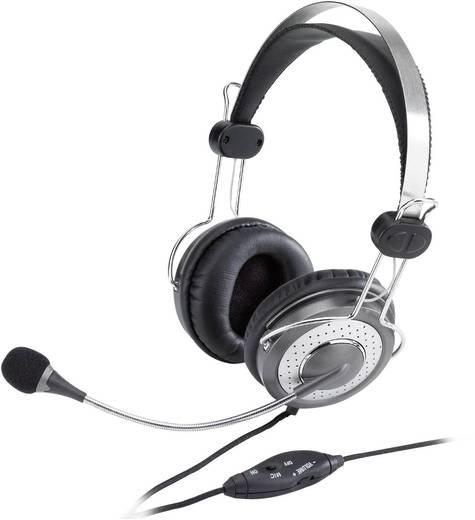 PC-Headset 3.5 mm Klinke schnurgebunden, Stereo Genius HS-04SU Over Ear Schwarz-Silber