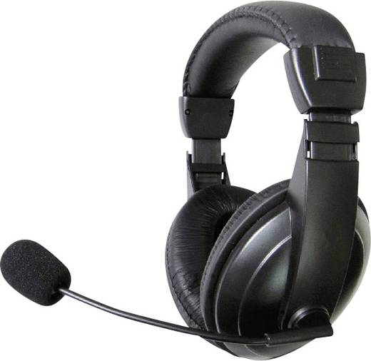 PC-Headset 3.5 mm Klinke schnurgebunden, Stereo TW-260A Over Ear Schwarz