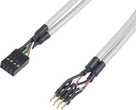 USB 2.0 Verlängerungskabel [1x USB 2.0 Stecker intern 8pol. - 1x USB 2.0 Buchse intern 8pol.] 0.30 m Grau vergoldete Ste