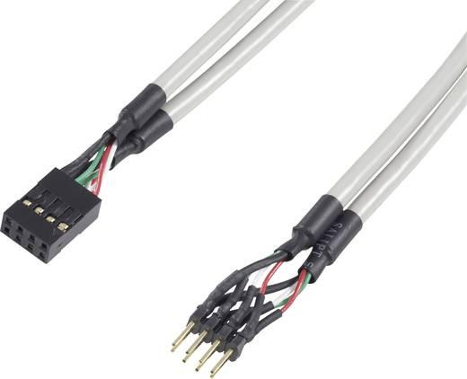 USB 2.0 Verlängerungskabel [1x USB 2.0 Stecker intern 8pol. - 1x USB 2.0 Buchse intern 8pol.] 0.30 m Grau vergoldete Steckkontakte, UL-zertifiziert