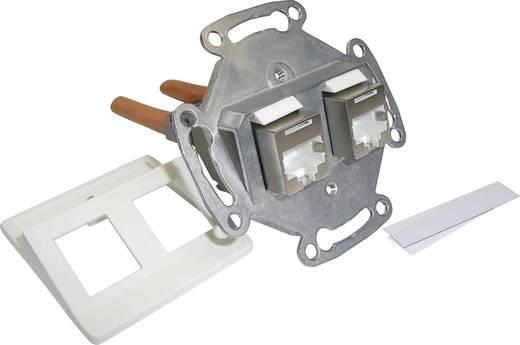 Netzwerkdose Unterputz Einsatz mit Zentralplatte und Rahmen CAT 6 2 Port Setec 604659 Reinweiß