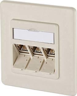 Prise réseau encastrable insert avec plaque centrale et châssis CAT 6A 3 ports Metz Connect 1309131001-E blanc nacré