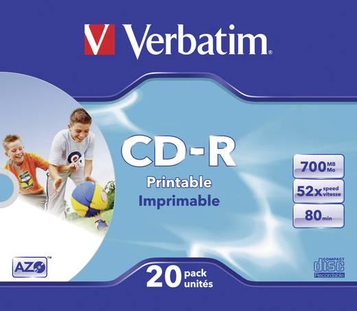 CD-R 80 Rohling 700 MB Verbatim 43424 20 St. Slimcase Bedruckbar