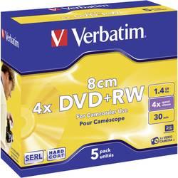 Mini DVD+RW - 8 cm 1.4 GB Verbatim 43565, přepisovatelné, stříbrný matný povrch, 5 ks, Jewelcase