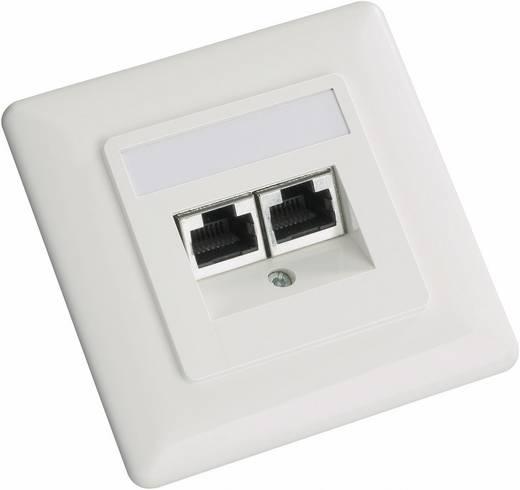 Netzwerkdose Unterputz Einsatz mit Zentralplatte und Rahmen CAT 5e 2 Port Setec 604666 Perl-Weiß