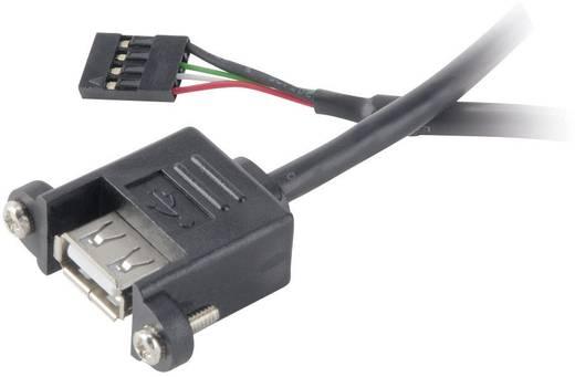 USB 2.0 Anschlusskabel [1x USB 2.0 Buchse intern 4pol. - 1x USB 2.0 Buchse A] 0.6 m Schwarz schraubbar, vergoldete Steck