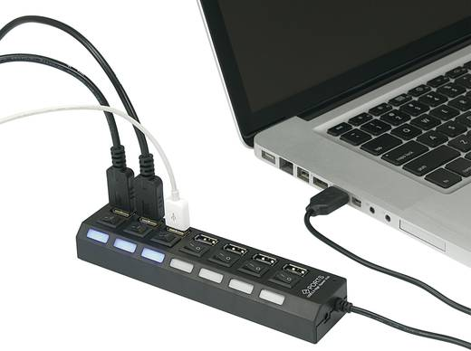 7 Port USB 2.0-Hub einzeln schaltbar, mit Status-LEDs Schwarz