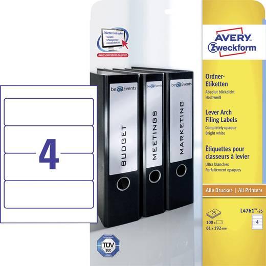 Avery-Zweckform L4761-25 Etiketten (A4) 61 x 192 mm Papier Weiß 100 St. Permanent Ordner-Etiketten Tinte, Laser, Kopie
