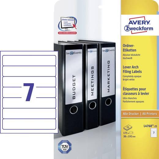 Avery-Zweckform L4760-25 Etiketten (A4) 38 x 192 mm Papier Weiß 175 St. Permanent Ordner-Etiketten Tinte, Laser, Kopie