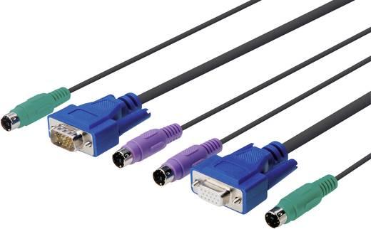 KVM Anschlusskabel [2x PS/2-Stecker, VGA-Stecker - 2x PS/2-Stecker, VGA-Stecker] 3 m Schwarz Digitus