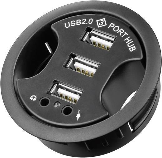 3 Port USB 2.0-Hub mit Audio-Ports Goobay Inbyggnad 60mm Schwarz
