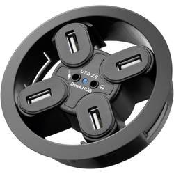 Vestavný USB 2.0 hub 80 mm + audio zásuvky, 4-portový - Redukce USB hub 4 porty, 2 x audio jack 3,5mm k zapuštění do desky pracovního stolu
