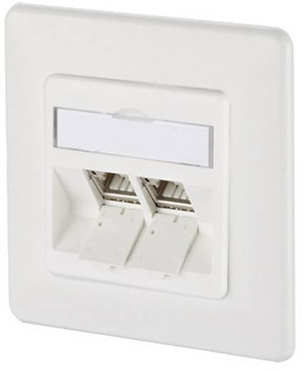 Netzwerkdose Unterputz Einsatz mit Zentralplatte und Rahmen CAT 6a 2 Port Metz Connect 130B12D21002-E Reinweiß