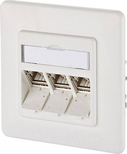 Netzwerkdose Unterputz Einsatz mit Zentralplatte und Rahmen CAT 6a 3 Port Metz Connect 130B12D31002-E Reinweiß