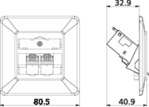 Netzwerkdose Unterputz Einsatz mit Zentralplatte und Rahmen 2 Port Metz Connect 1309121002-E Reinweiß