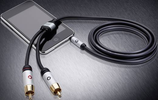 Cinch / Klinke Audio Anschlusskabel [2x Cinch-Stecker - 1x Klinkenstecker 3.5 mm] 5 m Schwarz vergoldete Steckkontakte O