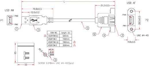 USB 2.0 Verlängerungskabel [1x USB 2.0 Stecker A - 1x USB 2.0 Buchse A] 0.50 m Schwarz EFB Elektronik
