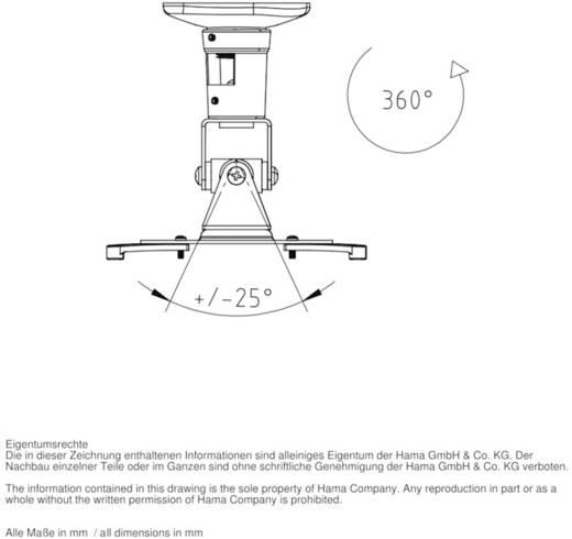 Beamer-Deckenhalterung Neigbar Boden-/Deckenabstand (max.): 22 cm Hama 118610 Weiß