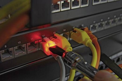RJ45 Netzwerk Anschlusskabel CAT 6a S/FTP 5 m Weiß mit LED, Flammwidrig, mit Rastnasenschutz EFB Elektronik