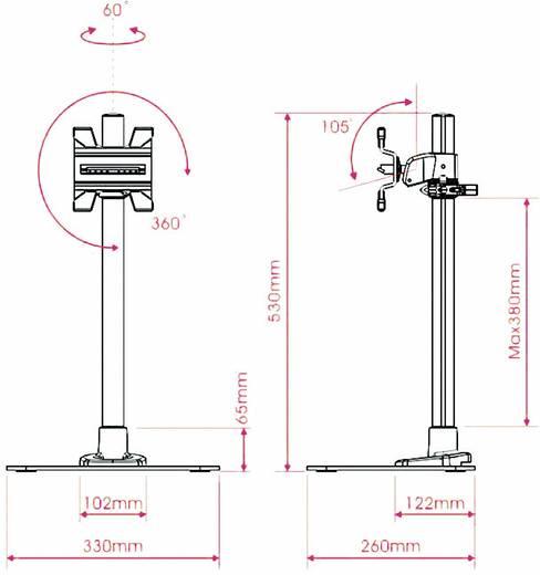 """Monitor-Standfuß 25,4 cm (10"""") - 68,6 cm (27"""") Neigbar+Schwenkbar, Rotierbar SpeaKa Professional für Apple"""