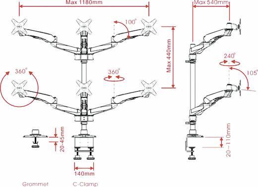 SpeaKa Professional Flex 6fach Monitorhalter, Tischmontage mit Gasdruck-Technik mit Grommet- und C-Klemme