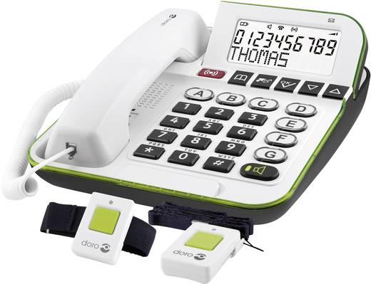 Schnurgebundenes Seniorentelefon doro Secure 350 inkl. Notrufsender, Freisprechen Beleuchtetes Display Weiß