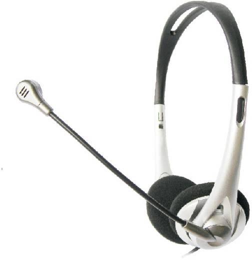 PC-Headset 3.5 mm Klinke schnurgebunden, Stereo TW-218 On Ear Schwarz/Silber