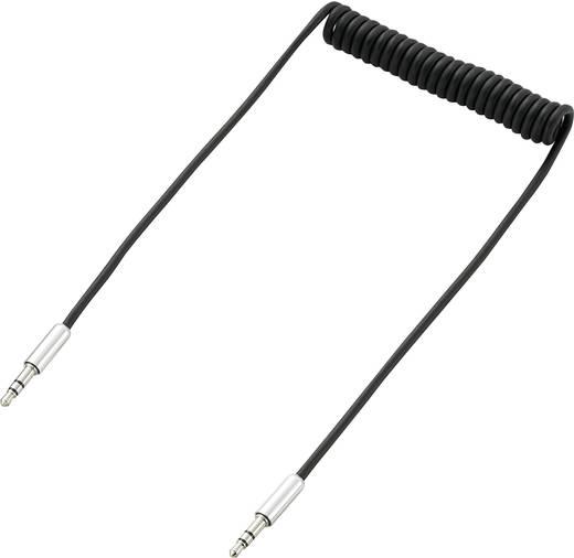 Klinke Audio Anschlusskabel [1x Klinkenstecker 3.5 mm - 1x Klinkenstecker 3.5 mm] 1 m Schwarz Spiralkabel SpeaKa Profess