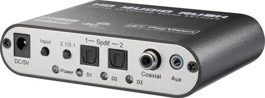 Audio Konverter [2x Toslink, Cinch-Digital, Klinke - 6 Kanal Cinch] SpeaKa Professional Digital zu Analog Audio-Decoder