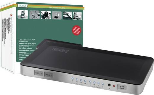 4 Port HDMI-Matrix-Switch Digitus DS-48300 mit Fernbedienung 1920 x 1080 pix (Full HD)