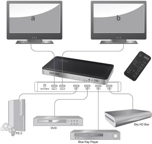 Digitus DS-48300 4 Port HDMI-Matrix-Switch mit Fernbedienung 1920 x 1080 Pixel