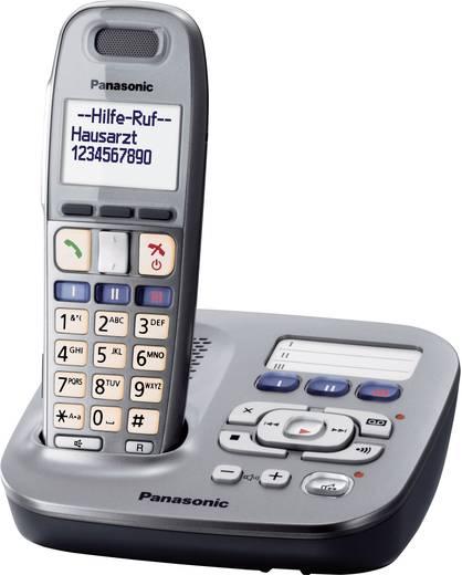 Schnurloses Seniorentelefon Panasonic KX TG 6591 Optische Anrufsignalisierung, Anrufbeantworter Beleuchtetes Display Gra