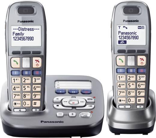 Schnurloses Seniorentelefon Panasonic KX TG 6592 Optische Anrufsignalisierung, Anrufbeantworter Beleuchtetes Display Gra