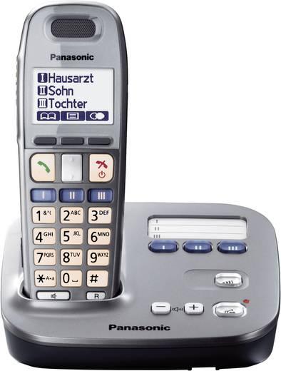 Schnurloses Seniorentelefon Panasonic KX-TG6571 Optische Anrufsignalisierung Beleuchtetes Display Graphit, Schwarz