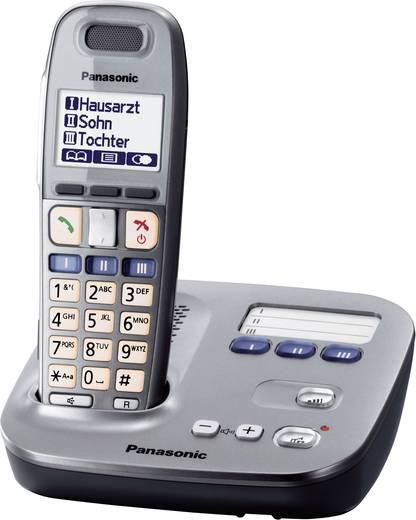 Schnurloses Seniorentelefon Panasonic KX TG 6571 Optische Anrufsignalisierung Beleuchtetes Display Graphit, Schwarz