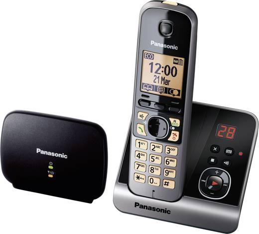 Schnurloses Telefon analog Panasonic KX-TG6761 Anrufbeantworter, DECT Repeater Schwarz, Silber