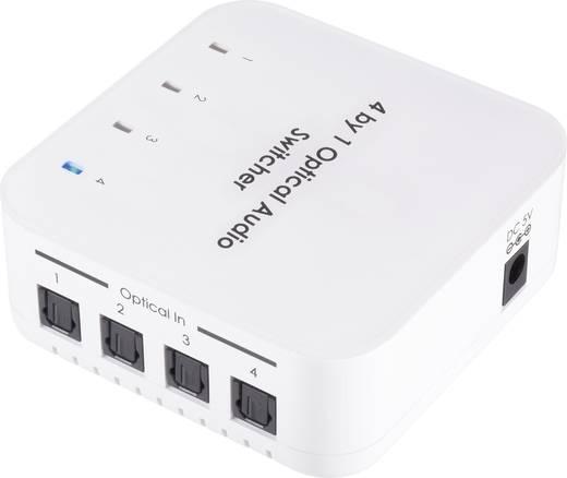 SpeaKa Professional 4 Port Toslink-Switch mit Fernbedienung 989345 Weiß