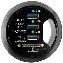 USB 3.0 hub Delock 3 porty, so zabudovanou čítačkou SD kariet, čierna