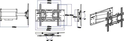 """TV-Wandhalterung 81,3 cm (32"""") - 152,4 cm (60"""") Neigbar+Schwenkbar SpeaKa Professional"""