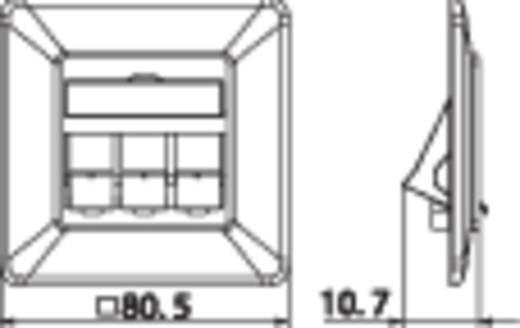 Netzwerkdose Unterputz Einsatz mit Zentralplatte und Rahmen Unbestückt 3 Port Metz Connect 1309161001-E Perl-Weiß