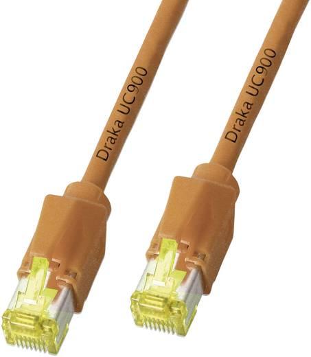 RJ45 Netzwerk Anschlusskabel CAT 6a S/FTP 0.50 m Orange Flammwidrig, mit Rastnasenschutz DRAKA