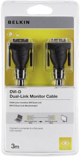 DVI Anschlusskabel [1x DVI-Stecker 24+1pol. - 1x DVI-Stecker 24+1pol.] 3 m Schwarz Belkin