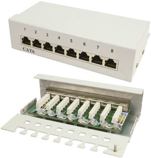 8 Port Netzwerk-Patchbox LogiLink NP0016A CAT 6 1 HE